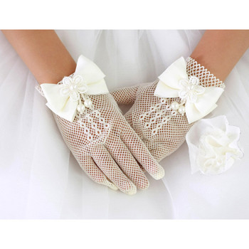 Beautiful Wrist Tulle Flower Girl/ First Communion Gloves with Bows