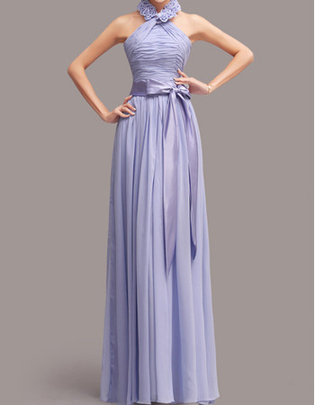 Romantic Halter Floor Length Chiffon Bridesmaid Dress with Sashes
