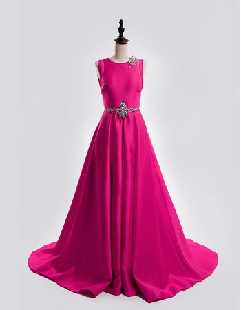 Affordable Custom A-Line Sleeveless Court Train Satin Backless Plus Size Evening Dress