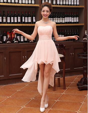 Affordable Beautiful Sweetheart Sleeveless High Low Short Chiffon Homecoming Dress