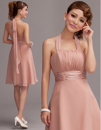 A-Line Halter Empire Short Chiffon Homecoming Dress