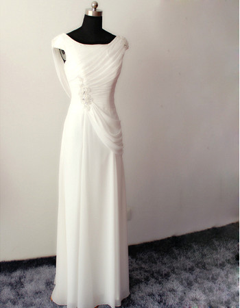 Amazing Modern Sheath Sleeveless Floor Length Chiffon Wedding Dress
