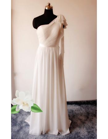 Modest Column One Shoulder Floor Length Chiffon Wedding Dress