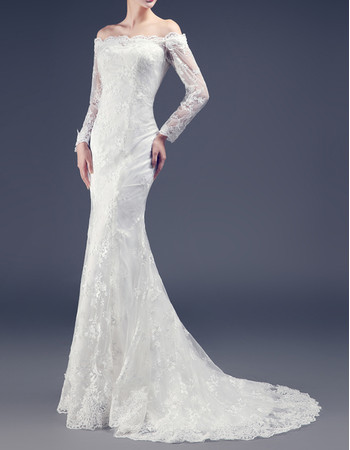 Classic Timeless Sheath Off-the-shoulder Long Lace Wedding Dress with Sleeves