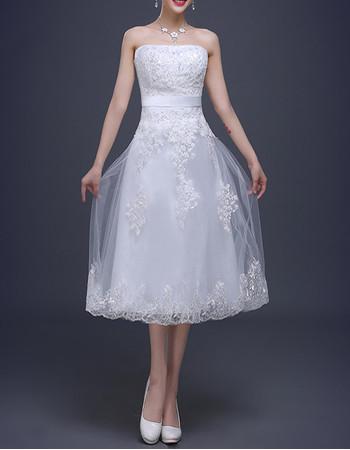 Designer Strapless Satin Tea-Length Reception Wedding Dress