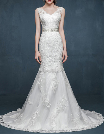 Gorgeous Mermaid V-Neck Sleeveless Sweep Train Satin Wedding Dress