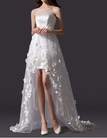 Simple Romantic Strapless High Low Satin Tulle Applique Wedding Dress