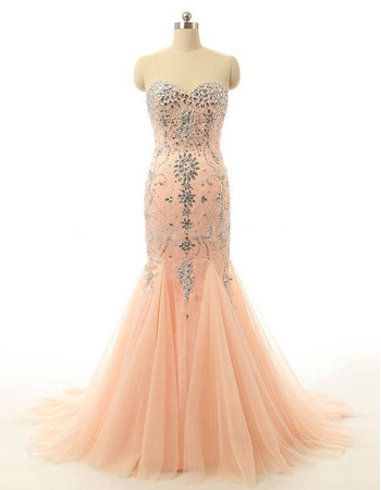 Beautiful Mermaid Sweetheart Long Chiffon Tulle Formal Evening Wear Dress