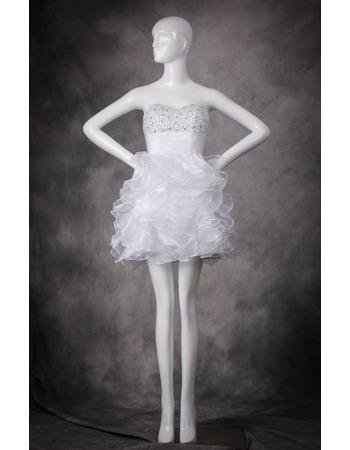 Classic Pretty Sweetheart Short Ruffle Skirt White Homecoming Dress