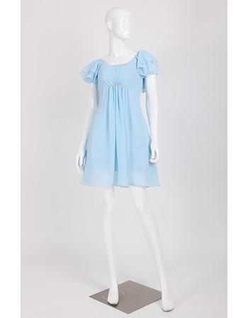 Elegant Sheath Mini Chiffon Homecoming Dress with Short Sleeves