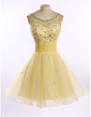 Girls Classy Style A-Line Round Short Satin Tulle Homecoming Dress