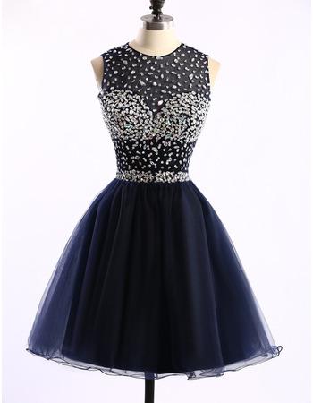 Custom Classic Ball Gown Sleeveless Short Satin Rhinestone Homecoming Dress