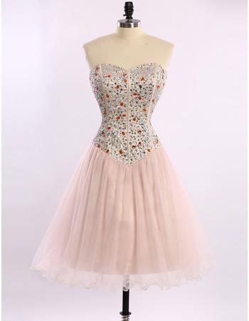 Affordable Cute Sheath Sweetheart Short Rhinestone Homecoming Dress