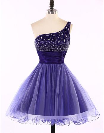 Custom Designer A-Line One Shoulder Short Tulle Homecoming Dress