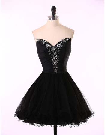 Girls Pretty A-Line Sweetheart Short Satin Tulle Black Homecoming Dress