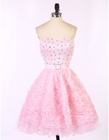 Hipster Sweetheart Short Ruffle Skirt Beading Pink Homecoming Dress