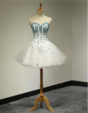 Junior Ball Gown Sweetheart Short Rhinestone Homecoming Dress