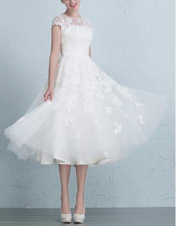 Affordable Charming A-Line Tea Length Organza Garden/ Outdoor Wedding Dress