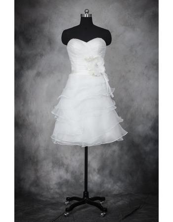 Best Informal A-Line Sweetheart Short Organza Layered Skirt Wedding Dress