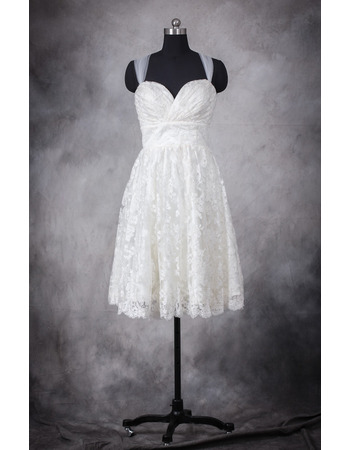 Custom Modern Empire Straps Sweetheart Lace Short Reception Wedding Dress
