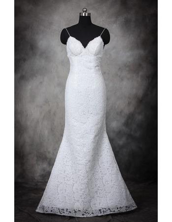 Women's Sexy Sheath Spaghetti Straps Sweetheart Long Lace Plus Size Wedding Dress