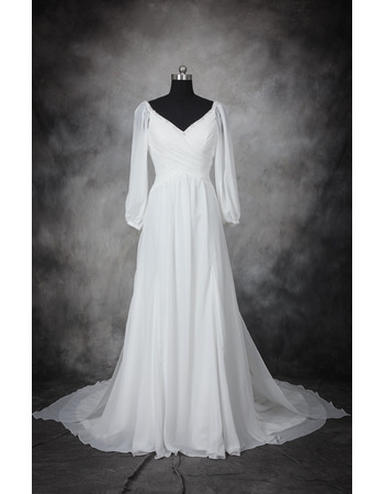 Custom Designer V-Neck Floor Length Chiffon Plus Size Wedding Dress with Long Sleeves