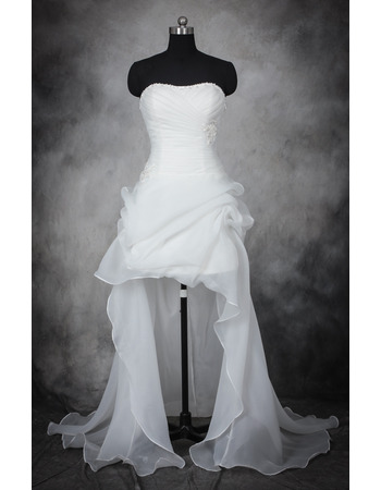 Inexpensive Charming Strapless High-Low Asymmetric Organza Wedding Dress