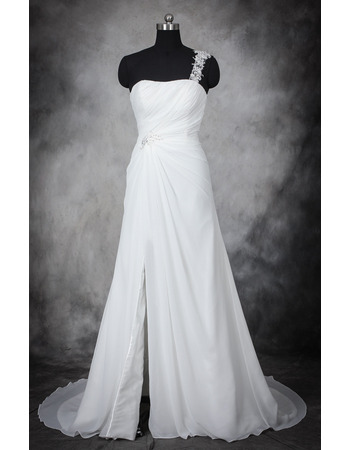 Modern Romantic One Shoulder Sleeveless Sweep Train Chiffon Plus Size Wedding Dress