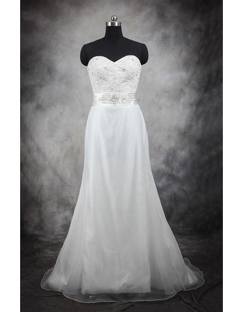 Inexpensive A-Line Sweetheart Sweep Train Taffeta Plus Size Wedding Dress