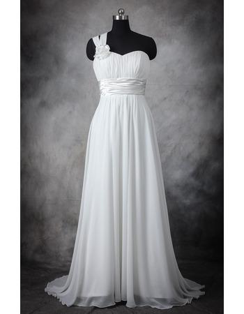 Elegant One Shoulder Sleeveless Sweep Train Chiffon Plus Size Wedding Dress