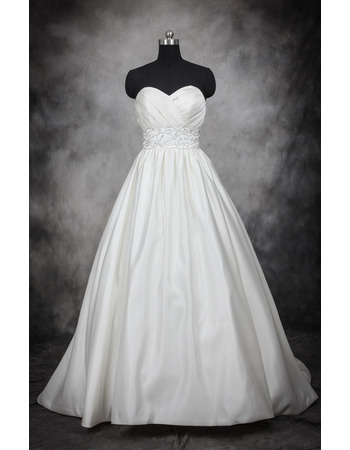 Custom Designer Ball Gown Sweetheart Court Train Satin Plus Size Wedding Dress