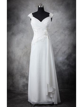 Discount Designer Sheath Sweetheart Floor Length Chiffon Wedding Dress