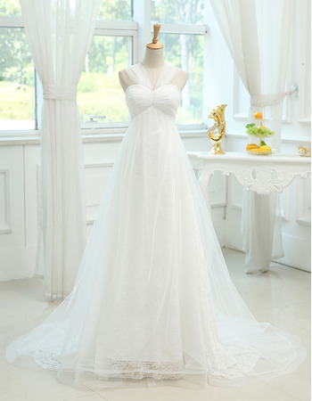 Discount Designer Empire Sweetheart Sweep Train Wedding Dress with Straps