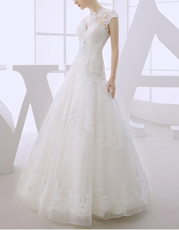 Modern A Line Floor Length Organza Dropped Waist Wedding Dress