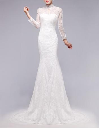 Custom Modest Mermaid Mandarin Collar Lace Wedding Dress With Long
