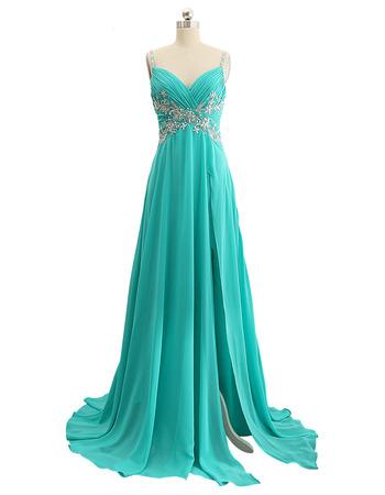 Elegant Sweetheart Long Chiffon Prom Evening Dress with Spaghetti Straps