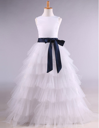 Affordable Stunning Long Tulle Layered Skirt Flower Girl Dress with Sashes
