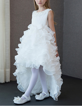 2018 Pretty New High-Low Sweep Train Ruffle Skirt Flower Girl Dress