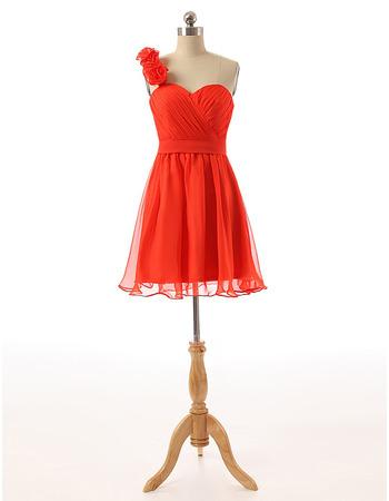 Simple One Shoulder Short Hot Pink Chiffon Homecoming Dress