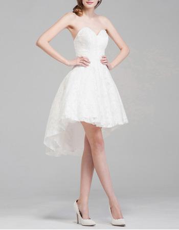 Informal Summer Sweetheart Sleeveless High-Low Lace Short Wedding Dress