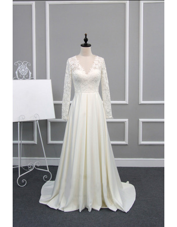 Inexpensive Modern V-Neck Sweep Train Wedding Dress with Long Lace Sleeves