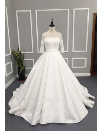 Custom A-Line Chapel Train Wedding Dress with 3/4 Long Sleeves