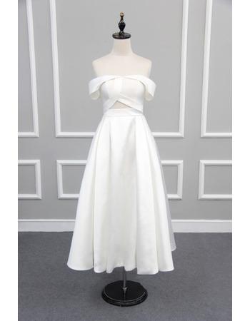 Affordable Chic Off-the-shoulder Tea Length Satin Reception Wedding Dress