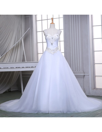 Elegant A-Line V-Neck Sleeveless Chapel Train Satin Wedding Dress