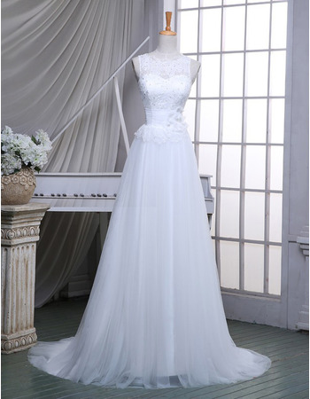 Classic Fit and Flare A-Line Sleeveless Sweep Train Wedding Dress with Belts