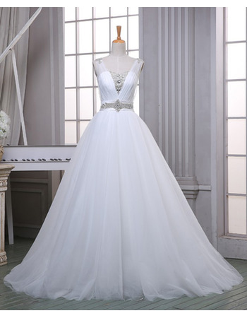 Simple Classic A-Line Sweetheart Sleeveless Sweep Train Organza Wedding Dress