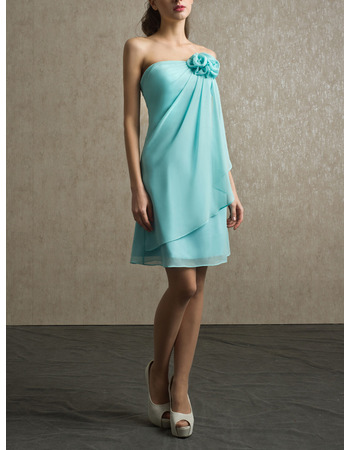 Designer Strapless Short Chiffon Beach Bridesmaid/ Wedding Party Dress