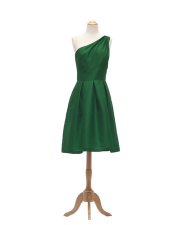 2018 Simple Style One Shoulder Short Green Taffeta Bridesmaid Dress