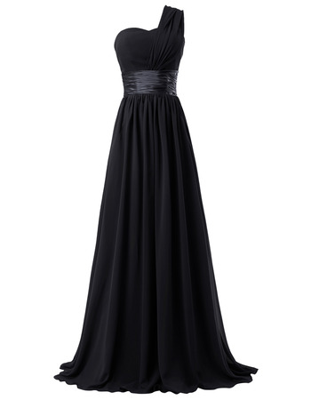 Simple Empire waist One Shoulder Long Chiffon Bridesmaid Dress