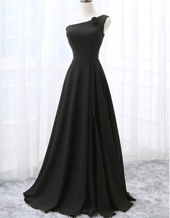 2018 Best Style One Shoulder Floor Length Black Bridesmaid Dress